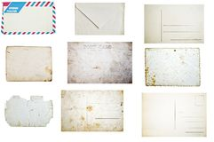 Set of grunge empty postcards and envelopes isolated on white background stock images