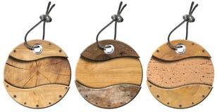 Set Grunge Etykietki Kółkowe Drewniane - 3 rzeczy Zdjęcie Stock