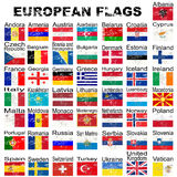 Set of grunge European flags, complete collection Royalty Free Stock Photography