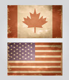 Set of grunge flags USA and Canada Stock Photography