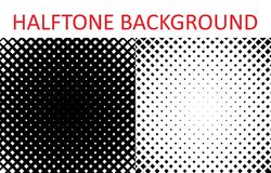 Set of Grunge halftone background. Halftone radial squares. Vector illustration Royalty Free Stock Images