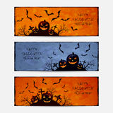 Set of grunge Halloween banners with pumpkins Stock Photography