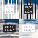 Set with grunge hand drawn text on colorful sky backgrounds Stock Photo