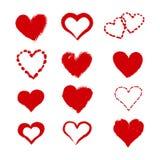 Set of  grunge heart illustrations Stock Photos