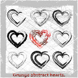 Set  grunge hearts. Vector illustration. Abstract grunge design elements Stock Photos