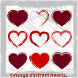 Set  grunge hearts. Vector illustration. Abstract grunge design elements Stock Images