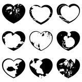 Set of grunge hearts vector illustration