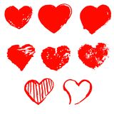 Set of grunge hearts. On white background Royalty Free Stock Photography