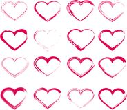 Set of grunge hearts. Set of unique hand drawn hearts. Vector element for your design Stock Photography
