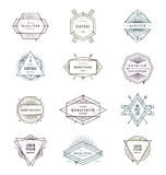 Set of grunge hipster signs and emblems Stock Images