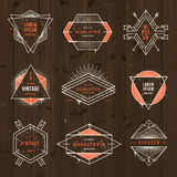 Set of grunge hipster signs and emblems Royalty Free Stock Photos