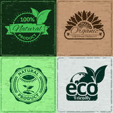 Set of grunge labels for organic & ecological products -vector eps8 Stock Photography