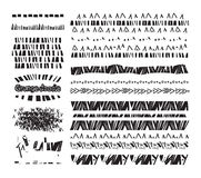 Set of grunge lines borders background doodles elements for design Stock Photos
