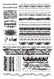 Set of grunge lines borders background doodles elements for design Stock Photo