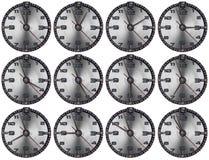 Set of Grunge Metal Clocks Stock Photos