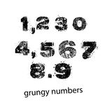 Set of grunge numbers with full stop and comma. Vector illustrat stock illustration