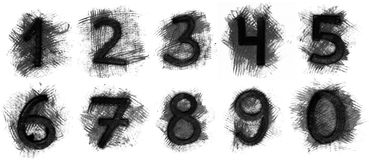 Set of grunge numbers. On white background Royalty Free Stock Images