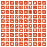 100 set grunge orange. 100 set in grunge style orange color isolated on white background vector illustration Royalty Free Stock Photos
