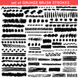 Set of grunge and ornamental different brush Royalty Free Stock Photo