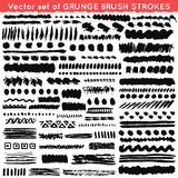 Set of grunge and ornamental different brush Stock Images