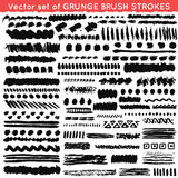 Set of grunge and ornamental different brush Royalty Free Stock Photography