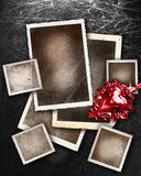 Set of grunge picture borders. With red heart on silver background Royalty Free Stock Photography