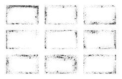 Set grunge ramy, tło narzuty, brudzi kąty ilustracji