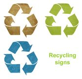 Set of grunge recycling signs Stock Photos