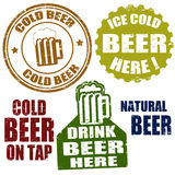 Cold beer stamps Royalty Free Stock Image