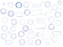 Set of grunge rubber stamps of different shapes. Collection of mock up templates distressed overlay mark of blue color. Isolated on white background vector illustration