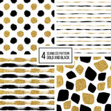 Set of grunge seamless pattern  black gold stripes, polka dots, mosaic spots Stock Image