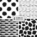 Set of grunge seamless pattern  black white stripes, polka dots, animal spots Stock Photo