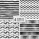 Set of grunge seamless pattern  stripes, waves, zigzag chevron Royalty Free Stock Photos