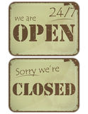 Set of grunge signs: open - closed - 24 hours Royalty Free Stock Photo