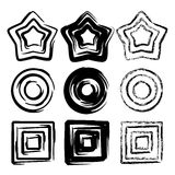 Set of grunge spiral motion geometric  elements Royalty Free Stock Image