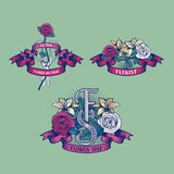 Set grunge stylu kwiatu sklep, kwiaciarnia wektoru logo Zdjęcia Stock