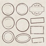 Set of grunge templates for rubber stamps on old paper ba. Ckground vector illustration