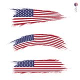 Set of 3 grunge textured flag of USA. Three versions of national country flag in brush strokes painted style. Vector flags royalty free illustration
