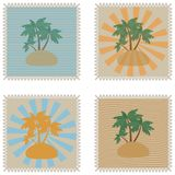 Set of grunge tropical summer stamps and with place for your text inside Vector Illustration. Set of grunge tropical summer stamps and with place for your text Stock Images