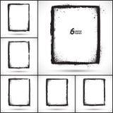 Set of grunge vector frames. Set of 6 vector backgrounds with grunge vintage frames Stock Images