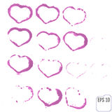 Set of grunge vector hearts. Design elements. Retro background. Stock Photography