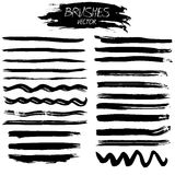 Set of grunge vector ink strokes or brushes Royalty Free Stock Images