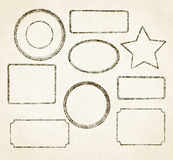 Set of 9 grunge vector templates for rubber stamps on old paper. Background vector illustration