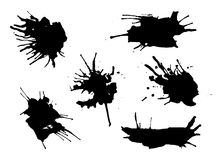 Set of grunge vector watercolor and ink splatter spots. Artistic creative drops. Royalty Free Stock Photography
