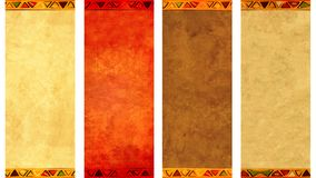 Collection of grunge vertical or horizontal banners. Set of grunge vertical or horizontal banners with old paper texture of different colors and borders with Royalty Free Stock Image