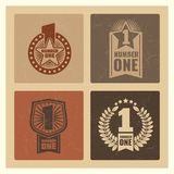 Set of grunge vintage number one banner with labels. Vector vintage banner one illustration Royalty Free Stock Image
