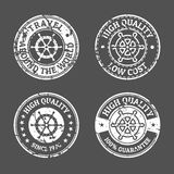 Set of grunge vintage style sea and summer nautical signs, badge Royalty Free Stock Photography