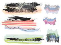 Set of grunge watercolor banners. Splashes and brushes Stock Photos