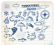 Set of grunge weather hand drawing icons Stock Photos