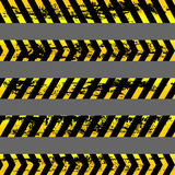 Set of grunge yellow caution tapes - isolated illustration Royalty Free Stock Photos